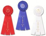 Classic Three Streamer Rosette Award Ribbon Baseball Award Trophies