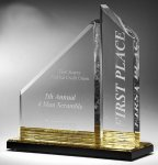 Multi-Faceted Dual Acrylic Column with Base Accent Color Presidential Acrylic Awards